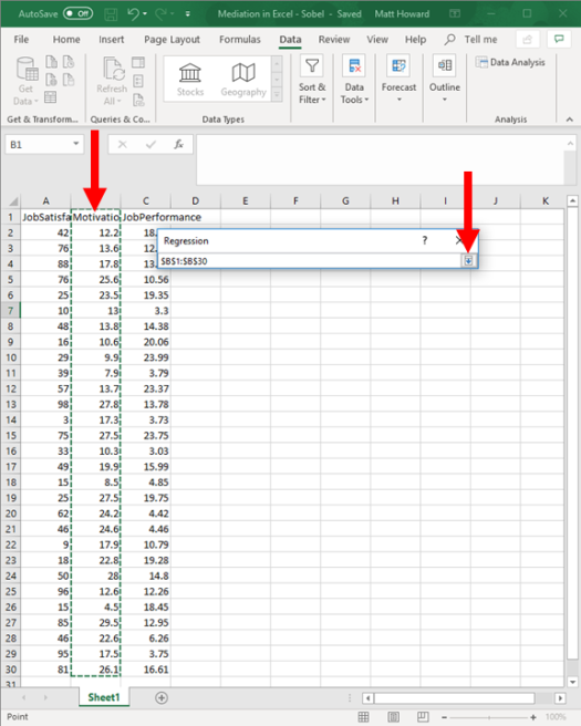 Mediation with Regression in Excel - Sobel Test 6