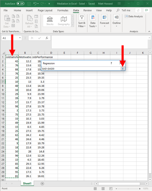 Mediation with Regression in Excel - Sobel Test 8