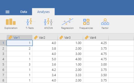 Opening Data in Jamovi 8